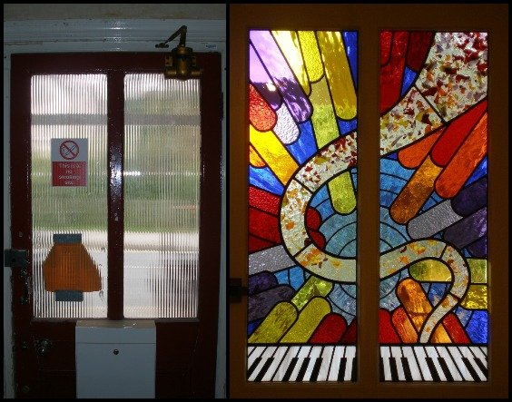 Music Stained Glass Window Before After. Boddington