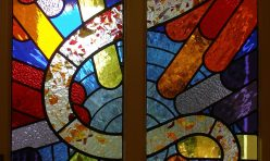 Music window of leaded glass in the front door of a Reading home. Boddington