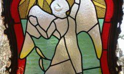 Icarus, fused and leaded glass. Boddington