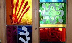 Matisse inspire front door windows -- silk screened glass enamels