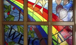 Welcome stained glass window for School Reception. Boddington