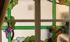 Vine window, Tiffany style copper foiled glass. Boddington