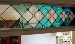 Square Petals Progression, copper foiled fused and colour glass. Boddington