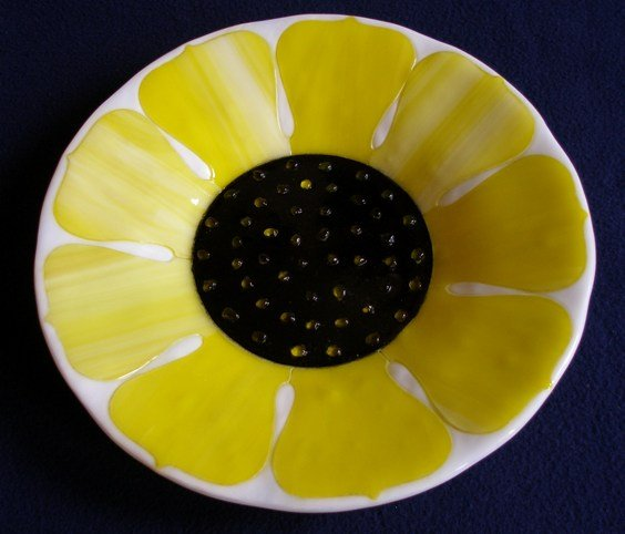Sunflower Fused Glass Bowl, Andrew Boddington